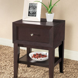 Baxton Studio - Gaston Brown Modern Nightstand - This Gaston brown modern nightstand makes a nice addition to any bedroom. It's just the right height to provide easy access to a blaring alarm clock or to a decorative lamp. The specially designed feet won't leave ugly marks on a hardwood floor.