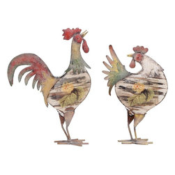 Benzara - Rooster in Bright Color Pattern and Long Lasting - Set of 2 - Elegantly designed, Metal Rooster in Bright Color Pattern and Long Lasting (Set of 2) is a graceful decor piece that will bring elegance to your living room. This exotic set of assorted metal roosters gives your surroundings a lively appeal. Ensuring great visibility, these metal roosters are available in various shapes and sizes. Place it indoors or outdoors, these roosters are sure to enhance your garden with the same elegance as in your living room. Perfectly suitable for any modern or conventional style interiors, these roosters are a preferred pick to enhance the grace and allure of your home. Bright color pattern and crafted to finesse taking into consideration even the minutest details, these roosters are made out of finest quality metal to offer them a long life and durability.
