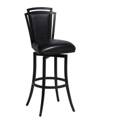 """Pastel Furniture - Pastel Furniture Citrus Grove 26 Inch Swivel Barstool in Black - The Citrus Grove swivel barstool is beautifully crafted in quality metal Phantom finish with sturdy legs and foot rest. This barstool has a simple yet elegant design that is perfect for any decor. The padded seat is upholstered in Ford Black offering comfort and style. Available in 26"""" counter height or 30"""" bar height."""