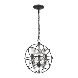 Sterling Industries - Restoration 3 Light Globe With Crystal Pendant - Restoration 3 Light Globe With Crystal Pendant
