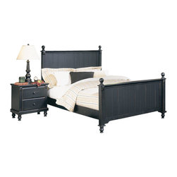 Homelegance - Homelegance Pottery 2-Piece Panel Bedroom Set - Distinguished by matching slat-detailed head and footboard, bedpost finials and matching bun feet, beds like these will always have a widespread appeal amongst folks who see home as where the heart is. A black finish completes the look and appeal of the Pottery black panel bed.