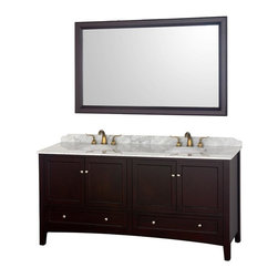 Wyndham Collection - Double Undermount Sink Bathroom Vanity - Includes one bathroom vanity and matching mirror. Faucets not included. Four doors and four drawers. Highly water resistant low V.O.C. color. White Carrera marble top marble. Contemporary and unique design. 12 stage wood preparation, sanding, painting and coloring process. Floor standing vanity. Deep doweled drawers. Fully extending side mount drawer slides. Soft close doors. Concealed door hinges. 8 in. Widespread, 3 hole faucet mount. Plenty of storage space. Metal hardware. Made from marble and solid oak hardwood. White, espresso and brushed chrome color. Care Instruction. Vanity: 72.25 in. W x 22.25 in. D x 35.5 in. H. Mirror: 60 in. W x 1.5 in. D x 36 in. HThe Audrey double vanity and mirror combines the best of contemporary and transitional style with practicality, to create a timeless piece of bathroom furniture. The matching mirror completes the look, for a vanity as beautiful years from now as it is today.