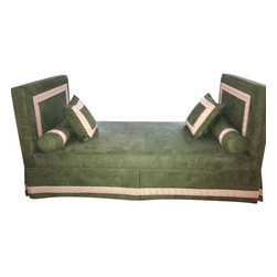 Used Ultrasuede Daybed With Greek Key Galloon - This daybed was custom made for a Designer Showhouse, but never used other than for display. It's in a soft green ultra suede with a Greek Key design. It was previously placed against a wall so the back side of the skirt does not have galloon. It breaks down into four pieces and is in near perfect condition.