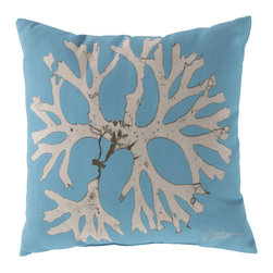 """Surya - Coral Square Decorative Pillow RG-049 - 20"""" x 20"""" - Enjoy a tranquil reminder of the beach in your space with this cool coral pillow. Featuring a bold beige coral design splashed pristinely against a tantalizing teal backdrop, this piece is sure to spice up your space. This pillow contains a Virgin Poly Styrene Bead fill providing a reliable and affordable solution to updating your indoor or outdoor decor."""