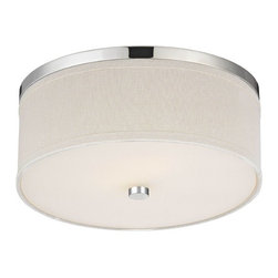 Design Classics Lighting - Polished Chrome Ceiling Light with Cream Drum Shade  - 5551-26 SH9460 - Flushmount ceiling fixture in polished chrome finish with a cream drum lamp shade and off-white acrylic diffuser. The drum shade measures 15-inches on the top and bottom by 5-inches in height. Takes (2) 60-watt incandescent A19 bulb(s). Bulb(s) sold separately. UL listed. Dry location rated.