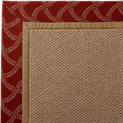 Frontgate - Outdoor Parkdale Rug in Sunbrella Lattice Sway Red/Off-White Cane Wicker - Cane - Wicker-textured base is woven in soft and durable olefin. Cleans with soap and water. Sunbrella® fabric is resistant to fading, staining, and mildew. Rug pad recommended (sold separately). Made in the USA. Our Parkdale Rug with colorful borders matches the premium all-weather fabrics featured on our replacement cushions, pillows, draperies, and umbrellas. This all-weather rug will work just as beautifully indoors as it does outside. . . Sunbrella fabric is resistant to fading, staining, and mildew. . .