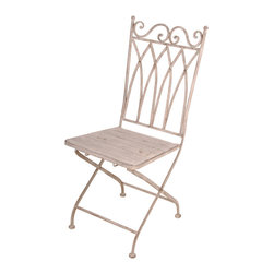 Esschert Design - Aged Metal Folding Bistro Chair Square Back - Aged Metal Carver Chair with Square Back and Wooden Seat. Elegant Scroll Design. 22inx 21inx 43in