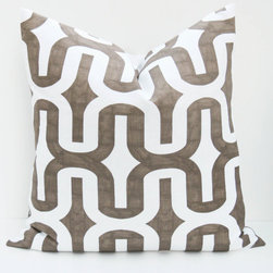 Brown Pillow Posh Street Pillows - The geometric pattern of this pillow has a crisp look in chocolate and white. I love how the chocolate looks as if it has been drawn on with a marker showing natural highlights and lowlights. I'd use a pair in a master bedroom with a colorful floral lumbar resting just in front.