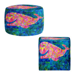 DiaNoche Designs - Ottoman Foot Stool by Michele Fauss - Wilma the Whale - Lightweight, artistic, bean bag style Ottomans. You now have a unique place to rest your legs or tush after a long day, on this firm, artistic furtniture!  Artist print on all sides. Dye Sublimation printing adheres the ink to the material for long life and durability.  Machine Washable on cold.  Product may vary slightly from image.