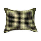 """Mystic Valley - Mystic Valley Traders Fulham Road - Queen Sham with Insert - The Fulham Road sham is fashioned from the striking Claret fabric, reversing to the Checkers fabric, and finished with contrasting Midnight piping; sold with polyester microfiber insert; queen 20""""x30"""""""