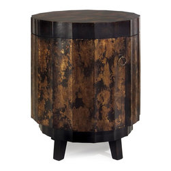 IMAX Worldwide Home - Gold and Black Side Table - Material: 100% MDF. 25 in. H x 20 in. Diam.. Weight: 23.98 lbs.This faceted round table features a rich gold and black finish and opens to reveal two shelves for storage.