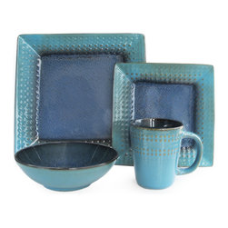 American Atelier - American Atelier Cantabria 16-piece Dinnerware Set - With this elegant dinnerware set,you'll be equipped to serve four people. The mugs,bowls,dinner plates and side plates feature various hues of blue as well as decorative accents around the edges in shades of brown.