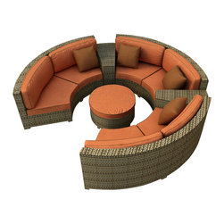 Forever Patio - Hampton 6 Piece Wicker Outdoor Sectional Set, Heather Wicker and Rust Cushions - The Forever Patio Hampton Radius 6 Piece Rattan Outdoor Sectional Set with Burnt Orange Sunbrella cushions (SKU FP-HAMR-6SEC-HT-CR) comfortably seats 6 to 7 adults, and conveniently includes an ottoman and contouring end tables that accent the 3 curved loveseats. This set features Heather resin wicker, which is made from High-Density Polyethylene (HDPE) for outdoor use. Each strand of this outdoor wicker is infused with its natural color and UV-inhibitors that prevent cracking, chipping and fading ordinarily caused by sunlight, surpassing the quality of natural rattan. Each piece features thick-gauged, powder-coated aluminum frames that make the set extremely durable. Also included with this curved sofa set are fade- and mildew-resistant Sunbrella cushions. With its deep-seated design and plush cushions, this modern round sofa sectional set features top-of-the-line comfort and size, especially when compared to the competition.