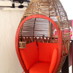 Rustic Living Room Furniture - Cocoon Hanging Chair available at The Rustic Gallery. Handmade with rosewood twigs and leaves.