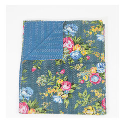 Queen Bed Cover or Blanket, Dark Teal Floral by Gypsya - There is nothing more comforting than a quilt. They carry with them a vintage, homey feel that I love.