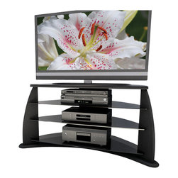 "Sonax - Sonax Florence Contemporary 37-52 inch Flat Panel TV Stand in Black Lacquer - Sonax - TV Stands - FP4000 - Combining unique styling with practical efficiency the FP-4000 provides crucial breathing room for all your high value electronics with plenty of space to customize your own look. Part of our popular Florence family of stands the FP-4000 fits perfectly into corners and is a captivating focal point for your home theatre. With a black lacquer finish tinted tempered glass top and matching shelves the FP-4000 embodies pure modern sophistication. This TV Stand accommodates most 37"""" - 52"""" TVs and accompanying components with cable management to maintain a polished look. Bring home this contemporary furniture by Sonax proudly built in North America."