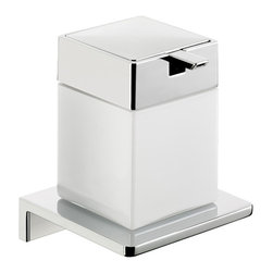 "WS Bath Collections - Asio 1321.204.03 Wall Mount Soap Dispenser - Asio 1321.204.03, 4.3"" x 4.3"" x 5.3"", Soap Dispenser in White Crystal Glass/Polished Chrome"