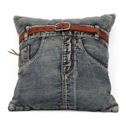 ZUO - Jean Cushion - Blue Denim w/ Front Jean - The Jean cushion is an eye catcher. Sewn from recycled denim with a jaunty belt to tie the look together. If you ever wanted your favorite jeans to reincarnate as a cushion, rejoice.
