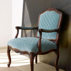 """""""Ocean Breeze"""" Chair - The """"Ocean Breeze"""" chair is elegant enough for the most formal room but at home in a bedroom, too.  The color of its blue upholstery is as soft as an ocean breeze...perhaps providing the inspiration for the name of this beautiful chair.Frame is beechwood with a distressed French dark-cherry finish and wormhole accents.27""""W x 24.5""""D x 37""""T."""