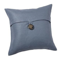 """Textured Pillow Cover, 18"""", Blue Dusk - Style essentials for easy home decorating, pillow covers can be switched every season for a fresh, simple update. Pure linen.Piece-dyed for vibrant color.Finished with a knife edge.Features an envelope closure secured with oversized buttons; insert sold separately. Machine wash.Select items are Catalog / Internet Only.Imported."""