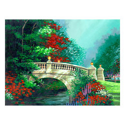 Custom Photo Factory - Bridge with Colorful Flowers Canvas Wall Art - Bridge with Colorful Flowers  Size: 20 Inches x 30 Inches . Ready to Hang on 1.5 Inch Thick Wooden Frame. 30 Day Money Back Guarantee. Made in America-Los Angeles, CA. High Quality, Archival Museum Grade Canvas. Will last 150 Plus Years Without Fading. High quality canvas art print using archival inks and museum grade canvas. Archival quality canvas print will last over 150 years without fading. Canvas reproduction comes in different sizes. Gallery-wrapped style: the entire print is wrapped around 1.5 inch thick wooden frame. We use the highest quality pine wood available. By purchasing this canvas art photo, you agree it's for personal use only and it's not for republication, re-transmission, reproduction or other use.