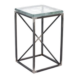 """Charleston Forge - Pacific Drink Table, Charcoal, Glass - The square Pacific Drink Table is a carefully hand-forged masterpiece that compliments a wide variety of home styles. This drink tables features a 1"""" thick Cast Glass top set on an iron forged frame with clean, simple lines. Table measures W 14"""" x D 14 x H 23""""."""