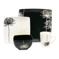 Baum - Baum Shadow Garden 16-Piece Dinnerware Set - Subdued in shades of gray and black, the graphic florals of Shadow Garden would make any table setting pop. With contrasting pieces in black and white, this square stoneware pattern is sure to lend drama to any gathering.