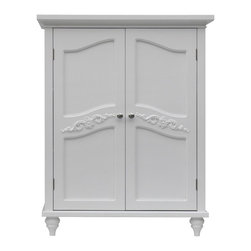 Elegant Home Fashions - Versailles Floor Cabinet with 2 Doors - The Versailles Double Door Floor Cabinet from Elegant Home Fashions in white finish offers storage with style for the bathroom. Its elegant crown molding top and two adjustable shelves helps make it easy to store items of different sizes. The exquisite engraving on the door panels provides an elegant look but with all the privacy.  The cabinet features metal knobs for easy opening. This sturdy cabinet comes with assembly hardware.