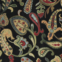 Red Orange Yellow Green Black Paisley Contemporary Upholstery Fabric By The Yard - This contemporary upholstery jacquard fabric is great for all indoor uses. This material is uniquely designed and durable. If you want your furniture to be vibrant, this is the perfect fabric!