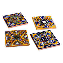 Native Trails - Spanish Garden Tile Coasters (set of 4) - Keep the wine flowing and the party coasting with these vivid Mediterranean-inspired tiles. They'll protect your tabletop while providing a scenic backdrop for the drinks they hold.