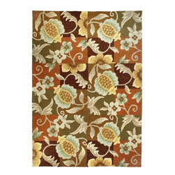 "Homefires - Contemporary Tropical Pineapple & Flowers Hallway Runner 2'4""x5' Runner Terracot - The Tropical Pineapple & Flowers area rug Collection offers an affordable assortment of Contemporary stylings. Tropical Pineapple & Flowers features a blend of natural Terracotta color. Hand Hooked of Polypropylene the Tropical Pineapple & Flowers Collection is an intriguing compliment to any decor."