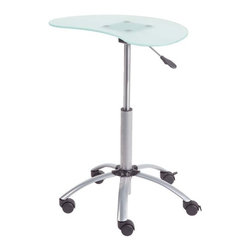 Eurostyle - Eurostyle Malcolm Laptop Stand in Aluminum & Frosted Glass Top - Laptop Stand in Aluminum & Frosted Glass Top belongs to Malcolm Collection by Eurostyle Tempered glass top. Powder epoxy coated steel base. Locking casters and gas lift. Base is 22.5 diameter. Laptop Stand (1)