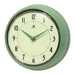 Infinity Instruments, Ltd. - Infinity Instruments Retro Iron Wall Clock, Green - Infinity Instruments Retro Wall Clock collection has been a staple in the interior design/wall décor accessories for well over a decade.  It has proven the test of time with a clean retro look that fits most, if not all, home décor layouts. There have been many copy cats but there is only one true  Retro Iron Wall Clock.