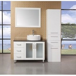 "Design Element - Design Element Seabright 39"" Single Sink Modern Bathroom Vanity - White - The 39"" Seabright showcases light, clean lines and geometric shapes though a well-balanced convergence of wood, glass, and porcelain. The result is a practical, superbly functional design with a rich range of forms, hues, and textures. The lack of architectural embellishments make the Seabright a great value and a perfect fit for the ultra-modern bathroom. Quality design points were not sacrificed, such as solid oak construction (no MDF in sight), soft-closing cabinet doors, a water-resistant finish, and a tempered glass countertop. Thanks to the round vessel sink, there's plenty of counter space, and storage space is further enhanced with three large drawers and two cabinet doors. Features: Solid Oak Wood constructionBlack Tempered Glass CountertopRound Vessel sinkPolished chrome pop up drainThree Drawers and Soft Closing Double DoorMatching framed mirrorSoft closing cabinet door ensures you never hear door slam againManufacturer provides 1 year warrantyFaucet(s) not included39""W x 22""D x 34""H How to handle your counter"