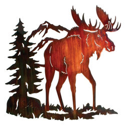 """Lazart - Rustic 26"""" Moose Ridge Metal Art - This  rustic  Moose  Ridge  Metal  Wall  Art  brings  a  breath  of  fresh  mountain  air  to  your  rustic  decor.  Laser  cut  from  steel  and  hand  finished  in  a  color  wash  coating,  this  rustic  metal  wall  art  has  beautiful  detail  and  composition  from  the  majestic  bull  moose  as  he  ambles  his  way  across  an  alpine  meadow  to  the  snow  covered  mountain  peaks  behind.  At  26  inches  wide,  this  rustic  metal  wall  art  is  wonderful  nature  landscape  for  any  mountain  lodge,  rustic  cabin  or  log  home.  Add  it  to  your  decor  today.            Find  more  wildlife  metal  wall  art.                  Measures  26  inches  high  by  26.5  inches  wide              Large  enough  to  be  a  focal  point  of  the  room              Color  Wash  finish  adds  an  extra  layer  of  realism  by  introducing  nature's  color  into  the  design              Laser  cut  precision  with  a  special  heat  transfer  finishing  process              Made  in  the  USA"""