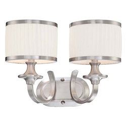 Nuvo Lighting - Nuvo Lighting 60/4732 Candice Two Light Bathroom Fixture - Nuvo Lighting 60/4732 Candice Two Light Bathroom Fixture with Pleated White Shades, in Brushed Nickel FinishCandice blends the design of traditional chandeliers from the past with contemporary finishes and materials used today. The results are strikingly rich lighting fixtures with a look all their own. Truly original.  This collection is finished in Brushed Nickel with Pleated White fabric shades.Nuvo Lighting 60/4732 Features: