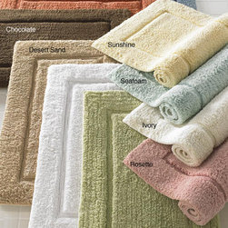 None - Egyptian European Hand-woven Premier Large 24 x 40 Bath Rug - Add a soft, luxurious feeling to your post-shower routine with this large rectangular bath rug. Crafted with 100 percent Egyptian cotton, this bath mat features a thick, absorbent pile and elegant detailing that will complement many bathroom decors.