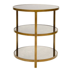 Kathy Kuo Home - Trilogy Hollywood Regency 3 Tier Bronze Antique Mirror Side Table - Three layers of luxurious antique mirrors capture your imagination and offer opulent spaces for serving, display and storage. Finished in beautiful bronze, this round table holds refreshments, framed photographs and any other offerings for your grateful guests.