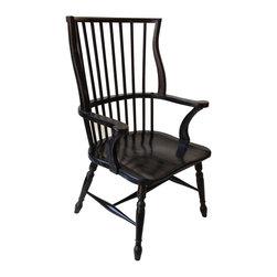 Noir - Noir - Windsor Chair - Classic farm house arm chair.  Mahogany wood construction with Hand Rubbed Black finish.