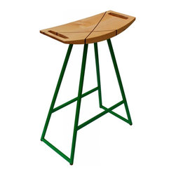 Tronk Design - Roberts Counter Stool Maple Inlay, Green - This sleek stool has a thin carved wooden seat that rests on a steel tubing base. The elegant seat is curved for seamless comfort while displaying a stunning intersecting diagonal accent inlay. This eye-catching and durable piece will make any kitchen counter, bar or table stand out. The color options for the powder-coated base are red, green, orange, or yellow. Or if you're not quite that daring we also offer white and black. The seat comes in either Walnut with Maple inlayed, Maple with a Walnut inlay, solid Walnut or solid Maple. The Roberts is available in table, counter and bar height.