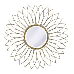 """Howard Elliott - Charlese Mirror with Antique Brushed Silver - Charlese Mirror with Antique Brushed Silver, Frame Dimensions: 40"""" Diameter X 0.5""""D; Mirror Dimensions: 14"""" Diameter; Finish: Antique Brushed Silver; Material: Metal;Beveled: Yes;Shape: Unique;Weight: 18 lbs;Included: Brackets, Ready to Hang"""