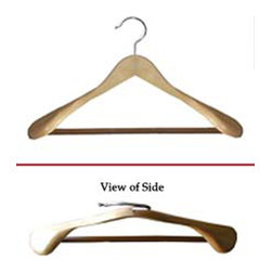Proman Products - Proman Products Libra Wide Shoulder Suit Hanger in Natural - Libra wide shoulder suit hanger with PVC ribbed bar natural finish, 12Pcs/Case,
