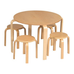 Guidecraft - Natural Nordic Kids' 5 Piece Table and Stool Set | Wayfair - This table has a simplistic design and beauty. The table features natural bent wood contours and smooth edges that invite your child to sit for a while and create, snack, read and more. This set includes the table and four natural stools.