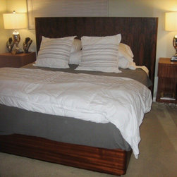 Beds and Bed Sets - King Platform Bed with 4 Full-Extension, Dove-Tail, Built-in Storage Drawers. Headboard is Macassar Ebony Veneer. Foot board is African Mahogany and the Floating Side Tables are Sepele Veneer. All Pieces are Finish with Clear Conversion. Varnish.