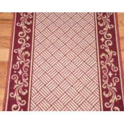 "Dean Flooring Company - Cranberry Scroll Border Washable Non-Skid Carpet Rug Runner - Sold by the Foot - Cranberry Scroll Border Washable  Non-Skid Carpet Rug Runner - Purchase by the Linear Foot : This runner is sold here by the linear foot. One unit of quantity equals one foot of length on your runner. Width - Approximately 26"". These beautiful carpet runners match our Dean Flooring Company stair treads. This item will be finished (serged with color matching yarn) on all four sides regardless of the length. It is made from nylon with a washable non-skid rubber back."