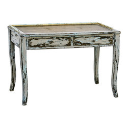 Uttermost - Uttermost 25598  Honovi Distressed Writing Desk - Artisan crafted from plantation-grown mango wood with mahogany-stained mindi veneer, hand painted and distressed in holland gray finish, layered with hints of ivory and blue.