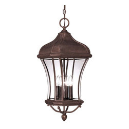 Savoy House - Savoy House Realto Outdoor Chain Hung Lighting Fixture in Walnut - Shown in picture: A strong Trisyn composite forms the foundation for a Walnut Patina finish with clear beveled glass. This flawless style offers an unparalleled value.