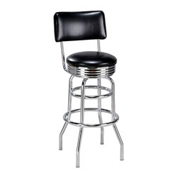 Galaxy Chrome Diner Stool in Counter & Bar Heights - Galaxy Chrome Diner Stool in Counter & Bar Heights