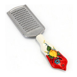 Artistica - Hand Made in Italy - Limone-Fiore: Grater (18/10 S/Steel and Ceramic Handle) - Lemon/Red - Our all new and exclusive Limone Fiore collection was inspired by the renowned Amalfi Coast lemons