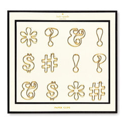 "Kate Spade - Kate Spade Expletive Paper Clips - Take office humor to the next level with these Kate Spade Gold Expletive Paper Clips.  The set includes 6 different clips (2 of each design), that are sure to give your co-workers a good laugh.   1""H X 1 5/8""W"